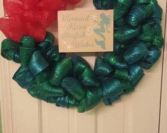 mermaid wreath, ariel, mermaid, under the sea, ariel wreath/ little mermaid/