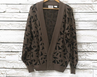 Vintage cardigan | Geometric cardigan | Retro sweater | Vintage sweater | Patterned sweater