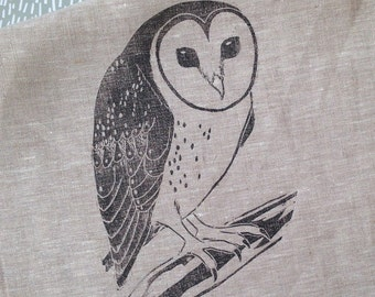 Masked Owl Linen Tea Towel / handprinted / block print