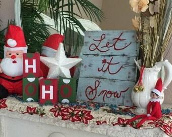 Let it Snow Christmas sign, Christmas decoration, Mantel decor