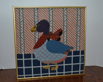1980's Vintage Cross Stitched Mother Goose - Framed