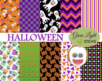Halloween Digital Papers, Halloween Digital Scrapbook Paper, Halloween Printable Papers, Halloween Backgrounds Commercial Use