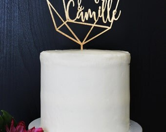 Personalized Geometric Wedding Cake Topper | Custom Name | Marzipan Collection