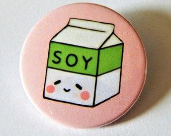 Soy milk badge, vegan badge, 38mm badge