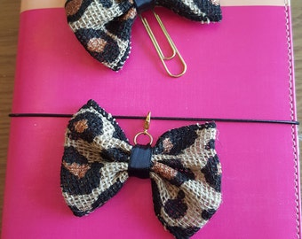 Leopard Bow Planner Clip/ Charm