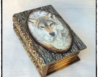 Book Box,Secret compartment box,keepsake book box,wolf lovers,Personalized  Box,Money box,Wooden storage box Mens,Wood Jewelry Box,wolf box