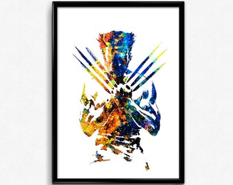 X-Men inspired, Wolverine, Superhero, Watercolor Print, Colorful Watercolor, Poster, Room Decor, gift, Print,Wall Art (28e)