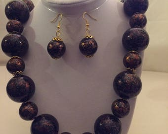 Brown Ball Necklace Earring Set