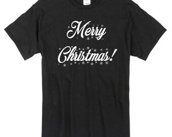 Merry Christmas T-Shirt black 100% Cotton xmas santa seasons greetings