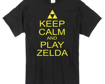 Keep Calm and Play Zelda T-Shirt black or white 100% cotton  gift present game tee
