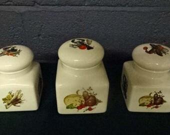 "Royal Winton Grimwades ""Shellfish"" Storage Jars x 3 /Vintage"