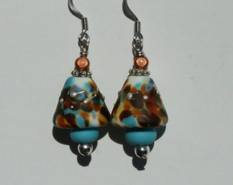Lampwork Bead Cone shaped earrings In Turquoise and Brown