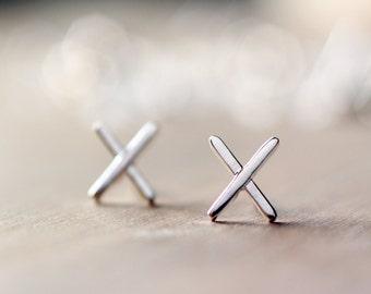 Sterling silver X earrings | Cross stud earrings |  Stitch studs | Modern minimalist earrings | Geometric shape studs | Industrial studs