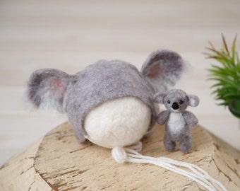 Felted Koala stuffy; koala bonnet and stuffy set; newborn photography prop; felted props; Made to Order