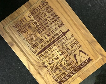 Game of Thrones, Cutting Board, Oath from the Night Watch, Engraved Custom Cutting Board, Birthday Gift, Host Gift, Housewarming Gift,