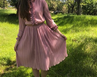 70s pleted pink dress