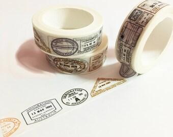 Passport Stamp Washi Tape, Travel Stamp Washi Tape, Japanese Washi Masking Tape, Country, Around the World Washi, Vintage Passport,Countries