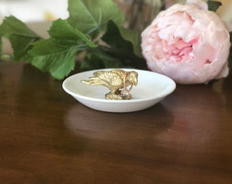 Parrot Jewelry Holder, Gold Bird Ring Holder, Catch All, Jewelry Dish, Home Decor