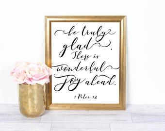 Bible Print Verse Quote, 1 Peter 1:6, Printable Quote Art, Bible Verse, Printable Wall Art,  Home Decor, Scripture Print