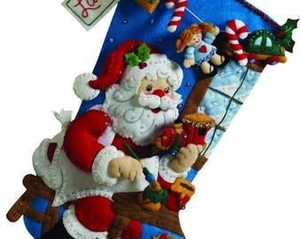 "Bucilla In The Workshop 18"" Christmas Stocking Felt Applique Kit, 86165"