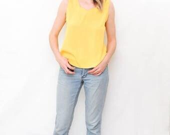 vintage silk tank | yellow cami | pastel camisole | minimalist top | yellow shirt | size small/medium | sleeveless top