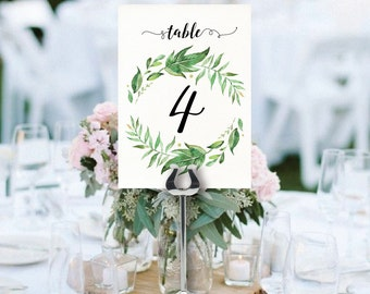 wedding table numbers printable greenery table numbers garden floral green wedding leafy greenery wreath instant download table numbers