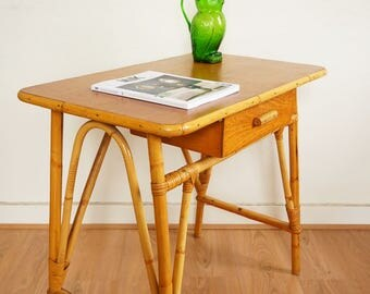 Desk table rattan vintage 1970