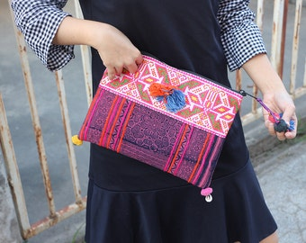 Pink Batik Clutch With Cross Stitch Fabric