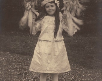 Adorable Pierrette Mademoiselle Marie Nézer… 1910s Original Antique French Real Photo Postcard RPPC… Fancy Carnival Girl in Lovely Costume