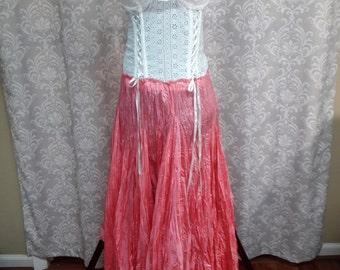 Pink Steampunk Wedding Dress, Corset Dress, Steampunk Prom Dress, Pink Alternative Wedding Dress, Pink Wedding Gown