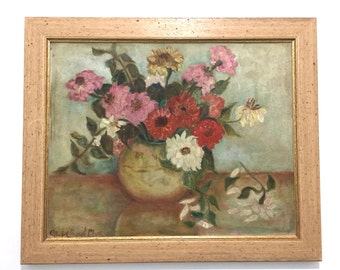 Floral Still Life original oil painting on panel by Mabel Beach Clark mid century painting