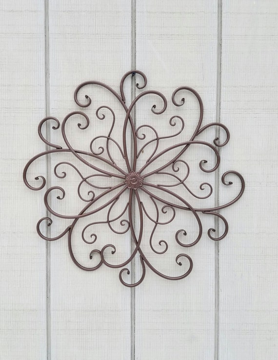 Wrought Iron Wall Decor Flowers : Large metal wall art wrought iron decor