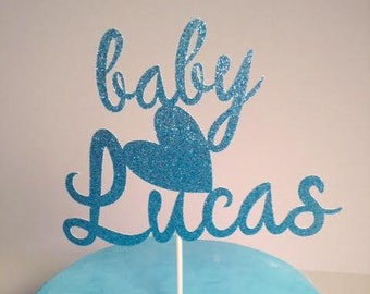 Welcome Baby Boy Cake Topper in Sparkling Glitter - very cute!  Custom Name Cake Topper!