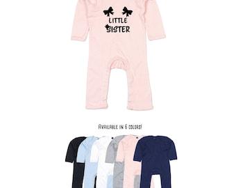 Baby little sister bodysuit, little sister romper, pregnancy announcement bodysuit, girl sibling romper, baby announcement, baby shower gift