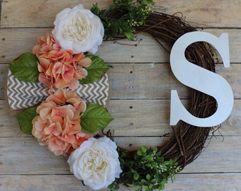 Spring Wreath with Hydrangeas, Roses, & White Monogram