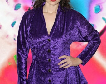 90s GLAM Purple Velvet Blouse with Dolman Sleeves and Peplum Waist