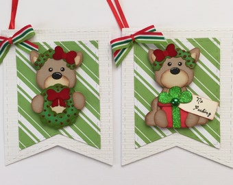 Premade Paper Pieced Die Cut Holiday Gift Tags - Set of 2