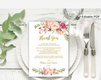 Floral Wedding Thank You Place Card, Wedding Table Thank You Template, Printable, A010, Editable PDF - you personalize at home.