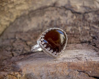 Botswana Agate Sterling Silver Teardrop Ring Size 8 / Crimson Buffalo Handmade / Bohemian Style Ring / Gifts for Her / Brown Stone Ring