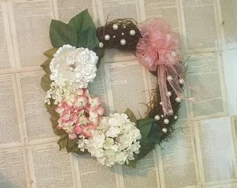 Romantic Shabby Chic Hydrangea Grapevine Moss Door Wreath Wall Hanging 26