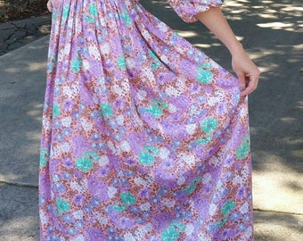 Vintage 60s designer Amelia Gray floral boho off the shoulder gown. Garden wedding. Floor length. Size small or medium