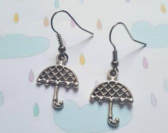 Umbrella earrings, Umbrella, Rainy day, Dangle earrings, Weather, Brolly, Whimsical jewellery, Quirky jewellery, Gift idea, Unusual