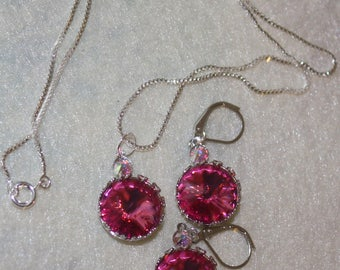 Sterling Silver Swarovski Crystal Surrounding Heart Necklace and Earring Set