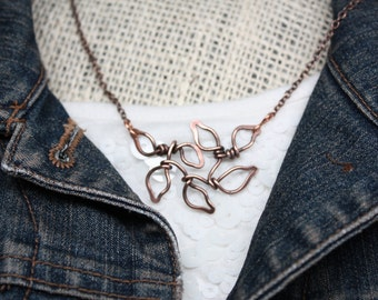 Leaves on a Branch Necklace, Copper Heart with Puzzle Piece Necklace
