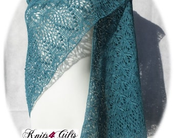 Flowers on Green Field - hand knitted lace shawl blue-green silk merino triangular wrap soft airy lightweight handmade