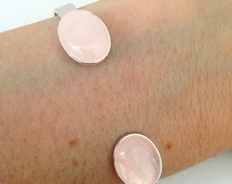 Silver bracelet, Pink quartz stone silver  bracelet, Stone bracelet, Silver cuff, Stone cuff, Pink Quartz bracelet, Quartz jewelry, Gift