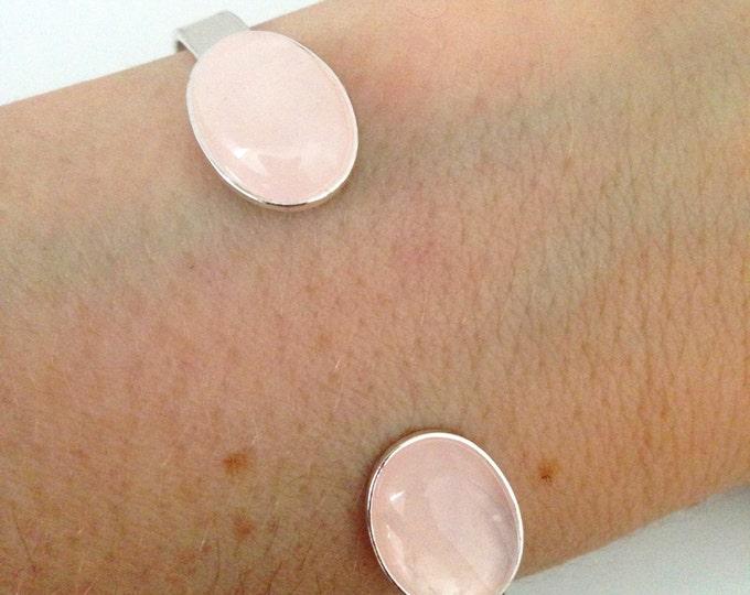 Silver bracelet and pink quartz semi precious stone