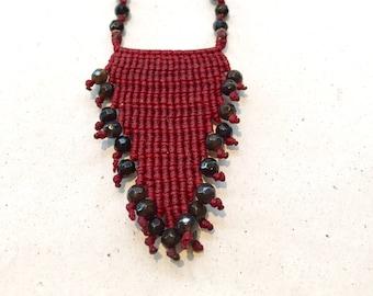Macrame jewelry, macrame necklace, boho necklace, beaded macrame, beaded jewelry, black onyx jewelry, semi precious macrame jewelry