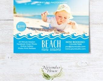 Beach Mini Sessions, Summer Mini Session, Photography Marketing, Beach Minis, Summer Minis, Photoshop Template, Blog Board, Instant Download