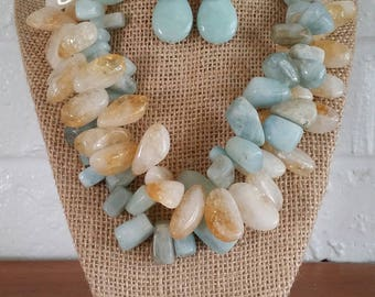 Aquamarine, Big Bold Chunky Necklace, Big Chunky Necklace, Chunky Statement Necklace, Stone Jewelry, Bold Stone Necklace, Statement Necklace